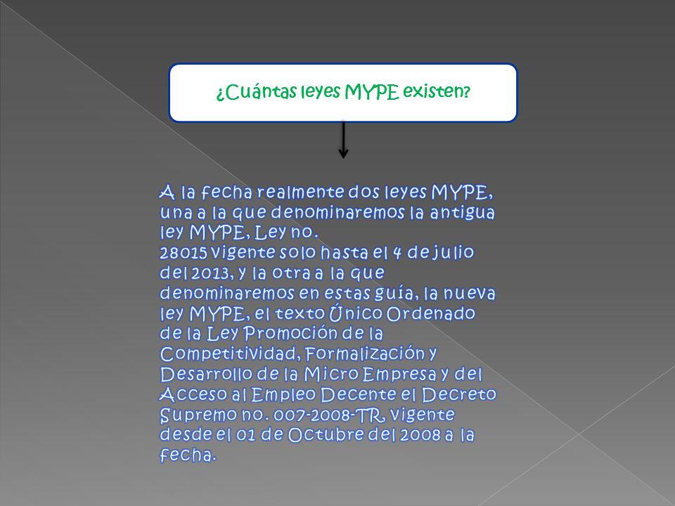 ¿ Cuántas leyes MYPE existen?