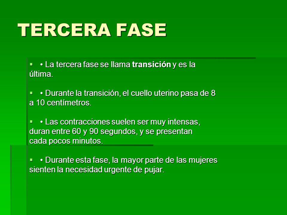 TERCERA FASE La tercera fase se llama transición y es la La tercera fase se llama transición y es laúltima. Durante la transición, el cuello uterino p