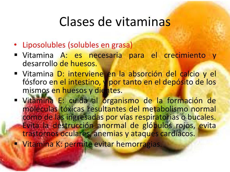 Clases de vitaminas Liposolubles (solubles en grasa) Vitamina A: es necesaria para el crecimiento y desarrollo de huesos. Vitamina D: interviene en la