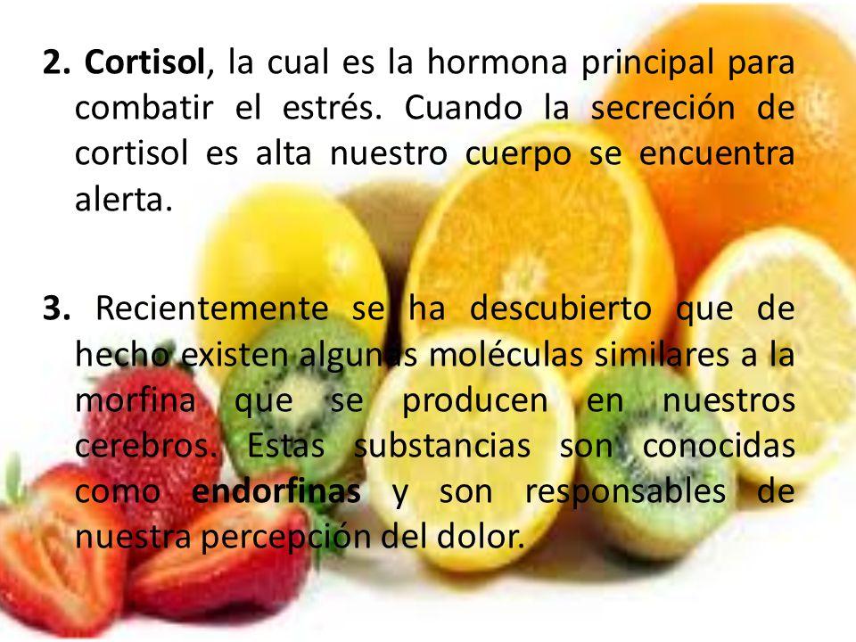 2. Cortisol, la cual es la hormona principal para combatir el estrés. Cuando la secreción de cortisol es alta nuestro cuerpo se encuentra alerta. 3. R