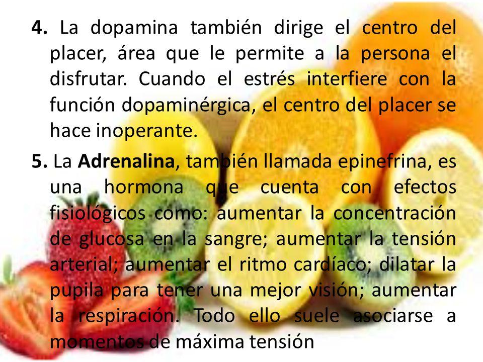 4. La dopamina también dirige el centro del placer, área que le permite a la persona el disfrutar. Cuando el estrés interfiere con la función dopaminé