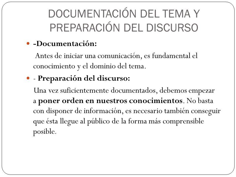 DOCUMENTACIÓN DEL TEMA Y PREPARACIÓN DEL DISCURSO -Documentación: Antes de iniciar una comunicación, es fundamental el conocimiento y el dominio del t
