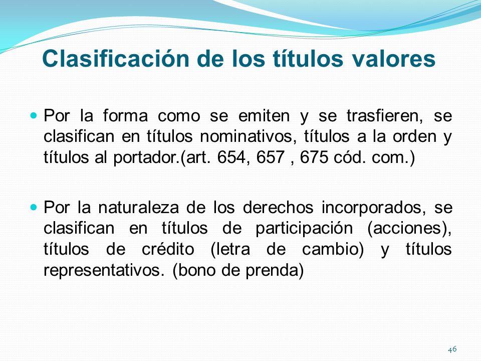 Clasificación de los títulos valores Por la forma como se emiten y se trasfieren, se clasifican en títulos nominativos, títulos a la orden y títulos al portador.(art.