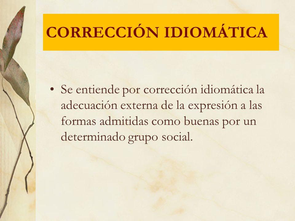Se entiende por corrección idiomática la adecuación externa de la expresión a las formas admitidas como buenas por un determinado grupo social. CORREC