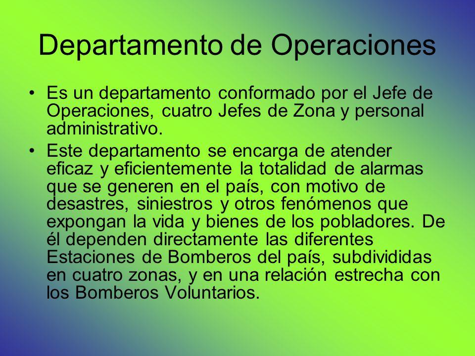 Departamento de Operaciones Es un departamento conformado por el Jefe de Operaciones, cuatro Jefes de Zona y personal administrativo. Este departament