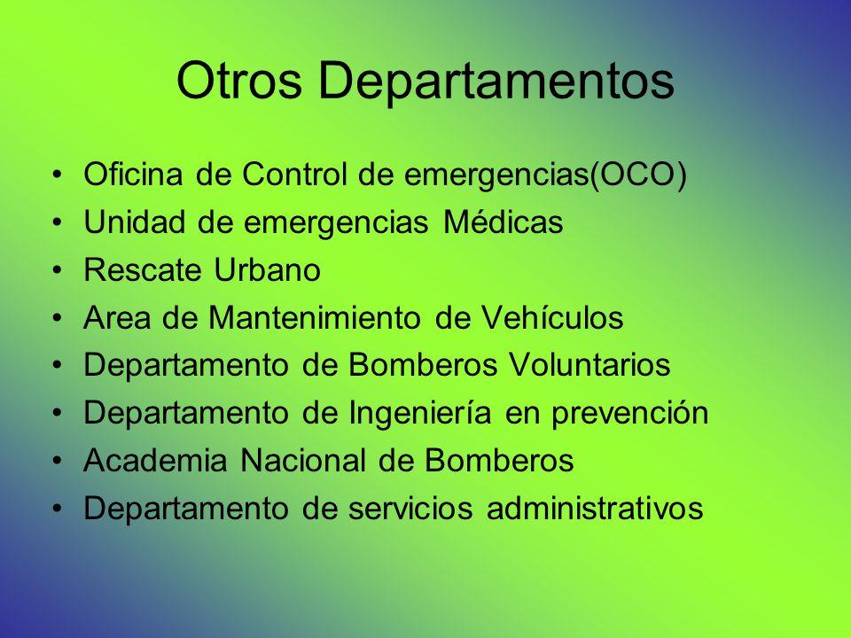Otros Departamentos Oficina de Control de emergencias(OCO) Unidad de emergencias Médicas Rescate Urbano Area de Mantenimiento de Vehículos Departamento de Bomberos Voluntarios Departamento de Ingeniería en prevención Academia Nacional de Bomberos Departamento de servicios administrativos