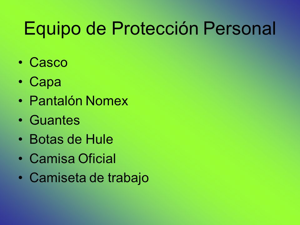 Equipo de Protección Personal Casco Capa Pantalón Nomex Guantes Botas de Hule Camisa Oficial Camiseta de trabajo