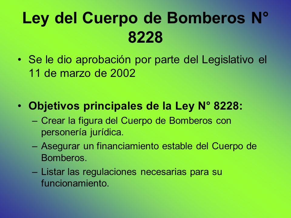 Ley del Cuerpo de Bomberos N° 8228 Se le dio aprobación por parte del Legislativo el 11 de marzo de 2002 Objetivos principales de la Ley N° 8228: –Crear la figura del Cuerpo de Bomberos con personería jurídica.