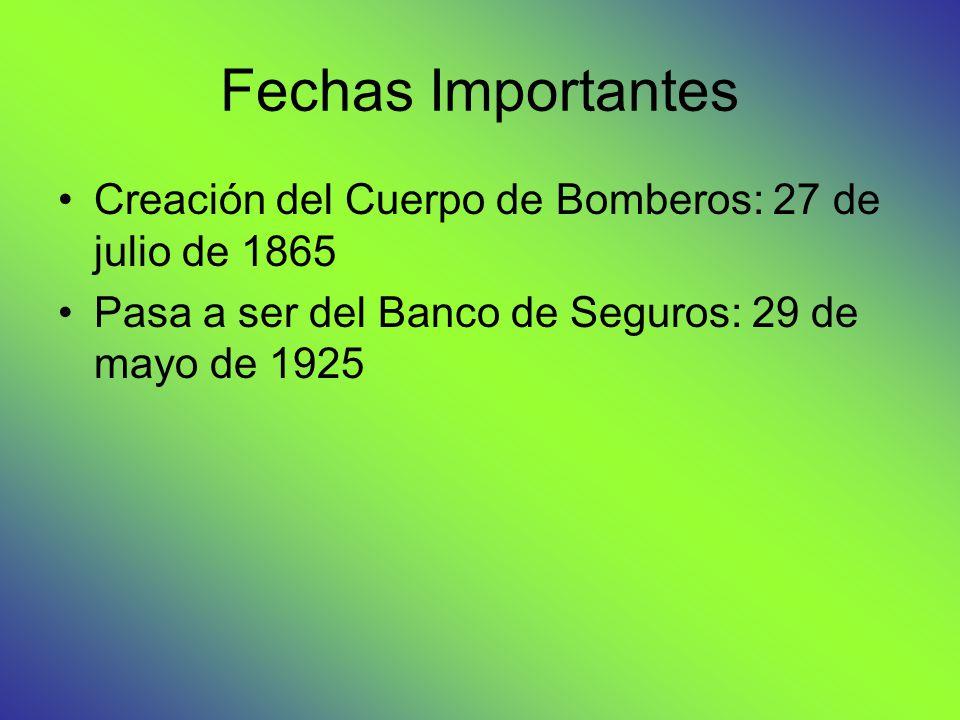 Fechas Importantes Creación del Cuerpo de Bomberos: 27 de julio de 1865 Pasa a ser del Banco de Seguros: 29 de mayo de 1925