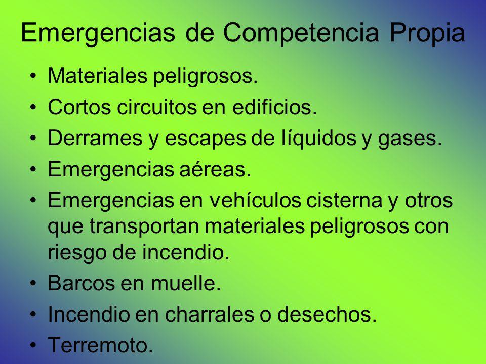 Emergencias de Competencia Propia Materiales peligrosos. Cortos circuitos en edificios. Derrames y escapes de líquidos y gases. Emergencias aéreas. Em