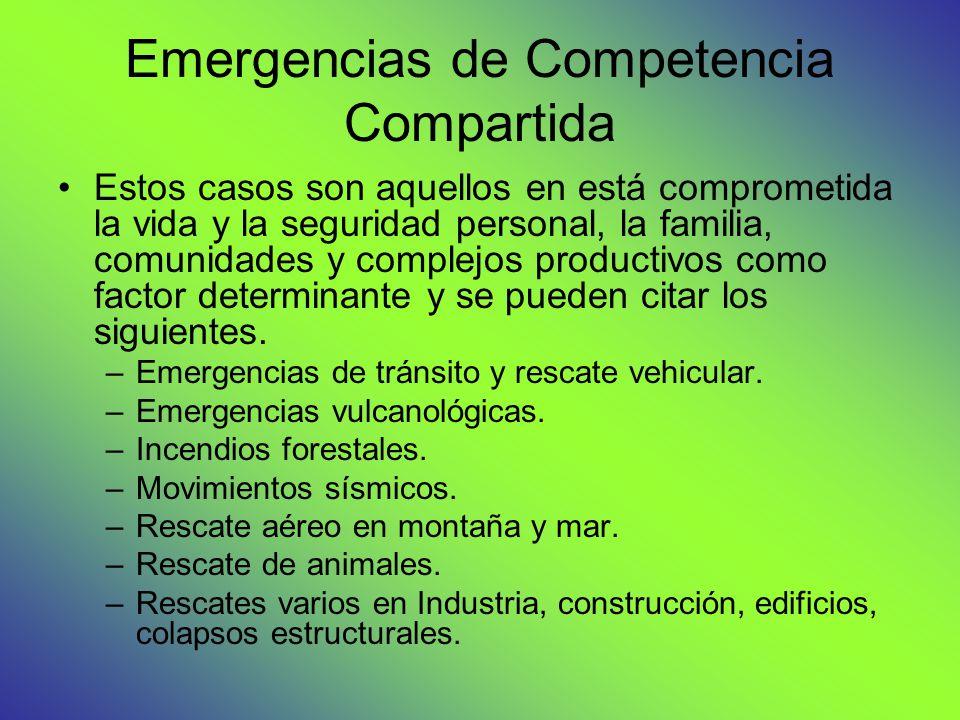 Emergencias de Competencia Compartida Estos casos son aquellos en está comprometida la vida y la seguridad personal, la familia, comunidades y complejos productivos como factor determinante y se pueden citar los siguientes.