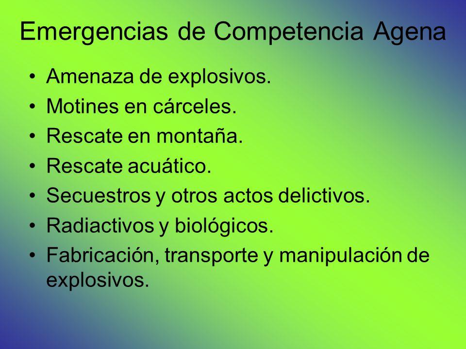 Emergencias de Competencia Agena Amenaza de explosivos. Motines en cárceles. Rescate en montaña. Rescate acuático. Secuestros y otros actos delictivos