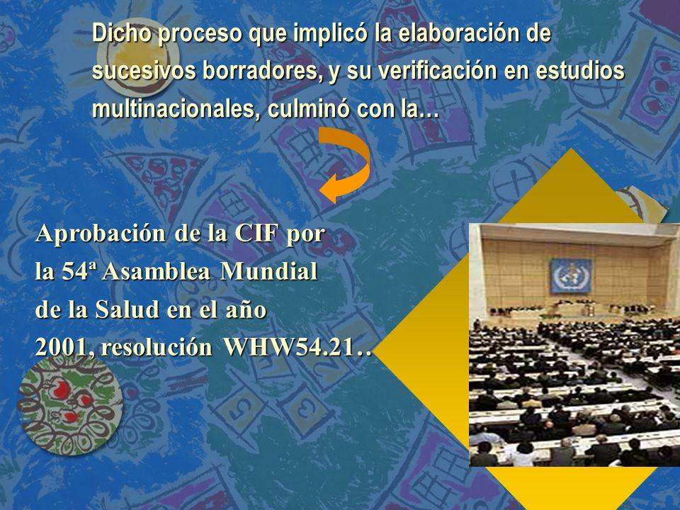 Aprobación de la CIF por la 54ª Asamblea Mundial de la Salud en el año 2001, resolución WHW54.21…..