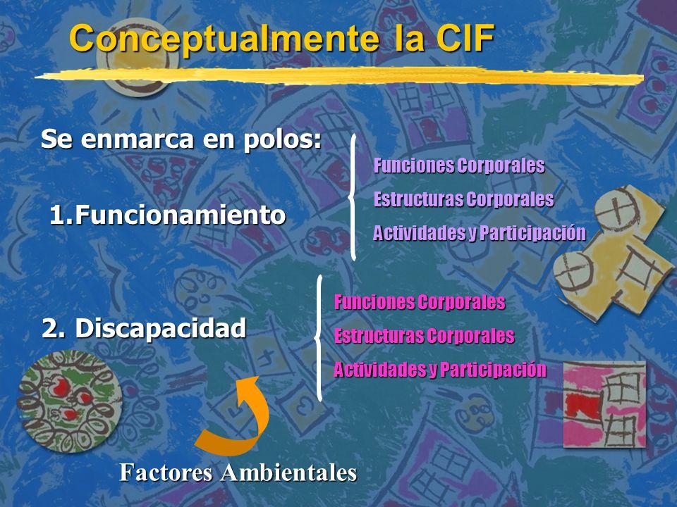 Conceptualmente la CIF Se enmarca en polos: 1.Funcionamiento 1.Funcionamiento 2.Discapacidad Funciones Corporales Estructuras Corporales Actividades y Participación Funciones Corporales Estructuras Corporales Actividades y Participación Factores Ambientales