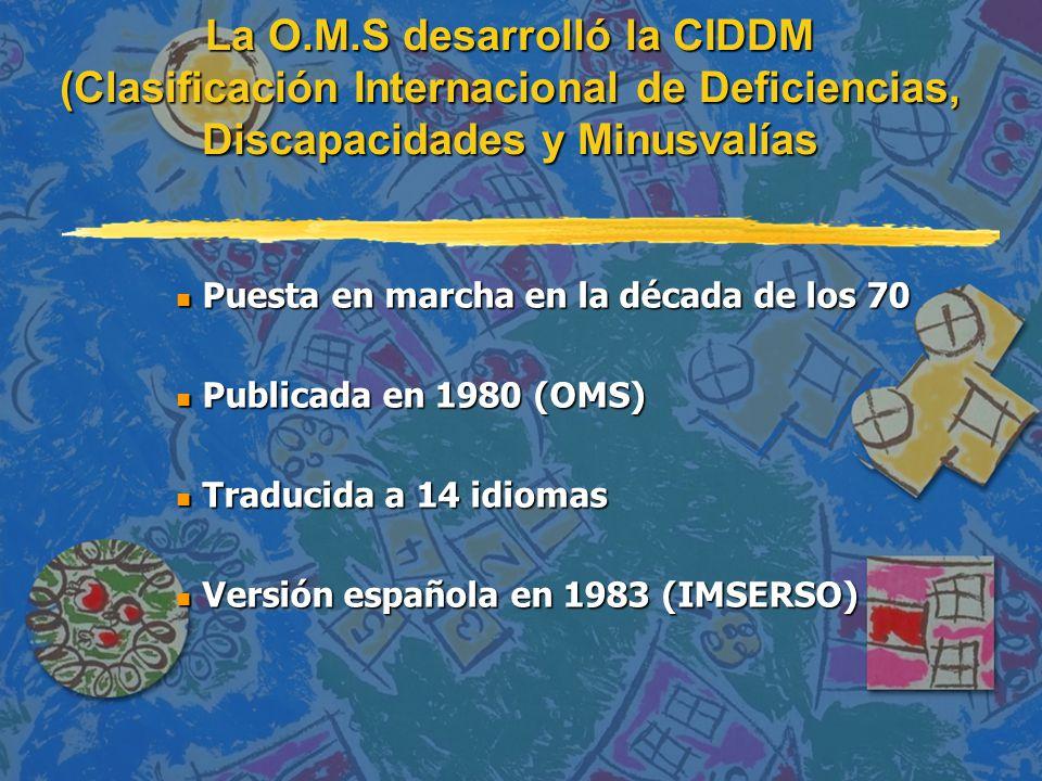 n Puesta en marcha en la década de los 70 n Publicada en 1980 (OMS) n Traducida a 14 idiomas n Versión española en 1983 (IMSERSO) La O.M.S desarrolló la CIDDM (Clasificación Internacional de Deficiencias, Discapacidades y Minusvalías