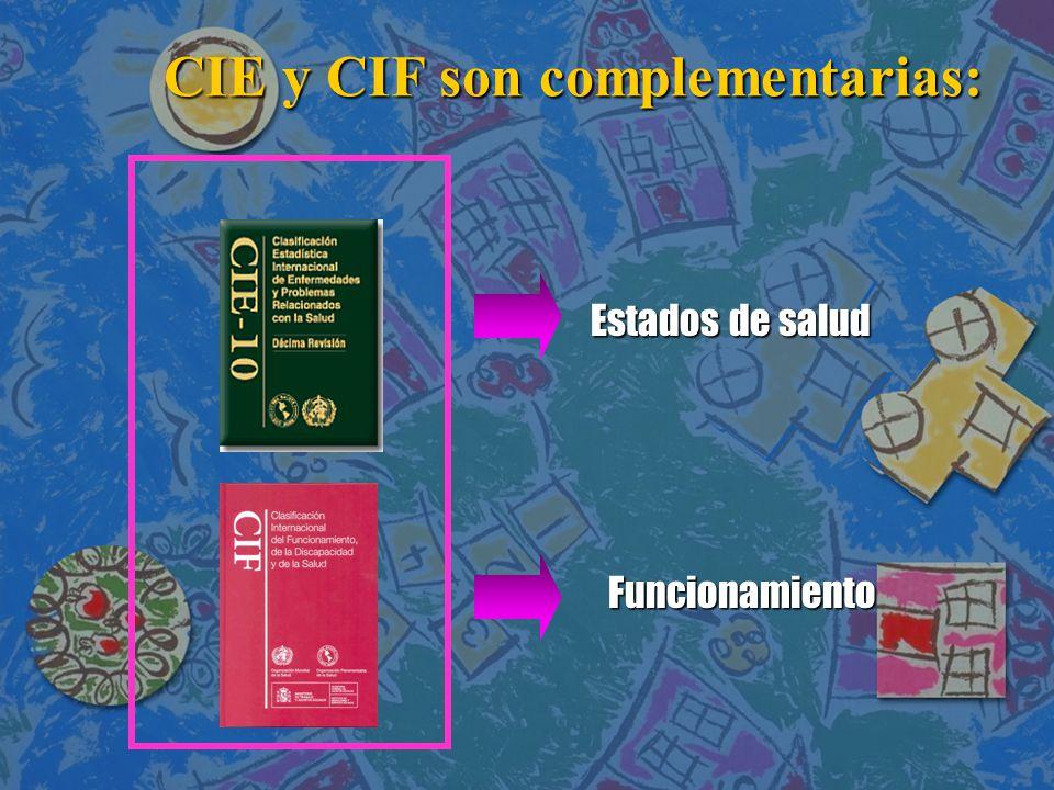 CIE y CIF son complementarias: CIE y CIF son complementarias: Estados de salud Funcionamiento