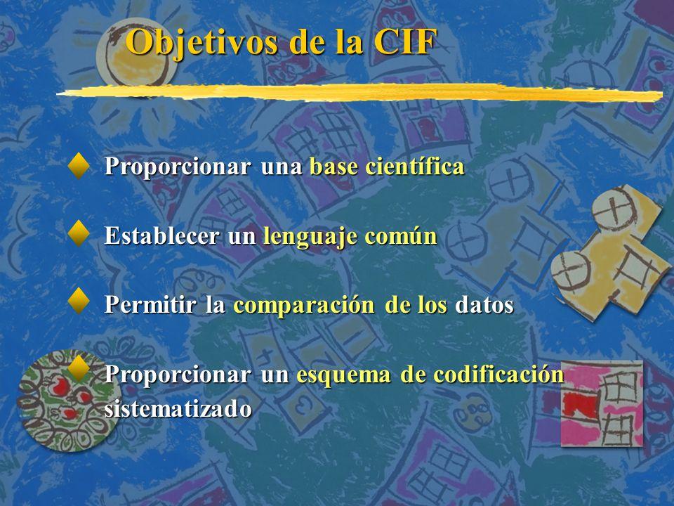 Proporcionar una base científica Establecer un lenguaje común Permitir la comparación de los datos Proporcionar un esquema de codificación sistematizado Objetivos de la CIF Objetivos de la CIF