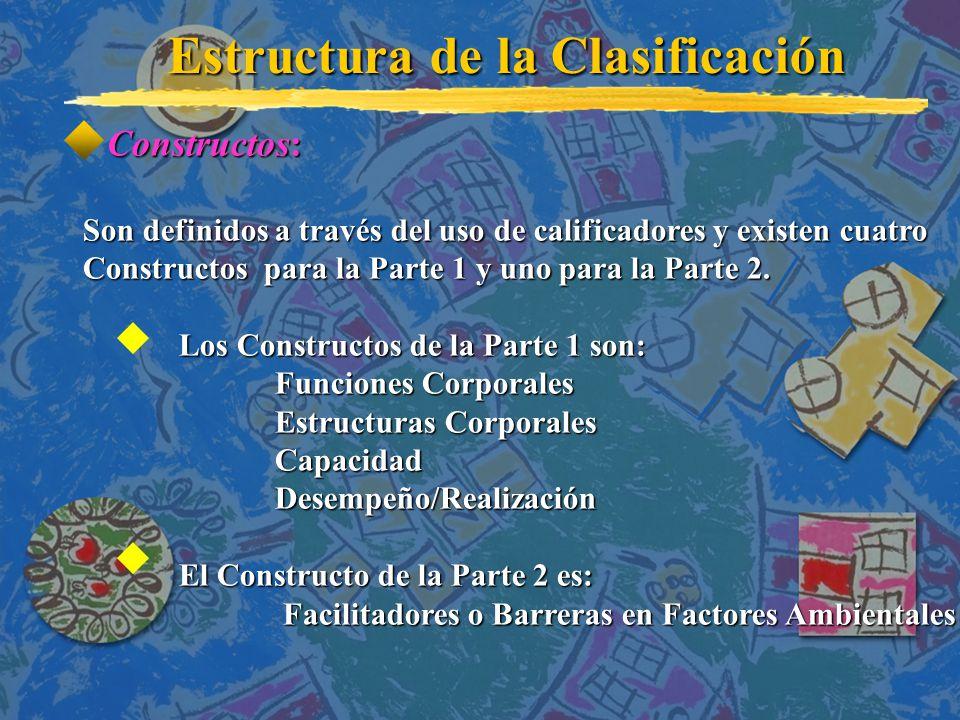 Constructos: Constructos: Son definidos a través del uso de calificadores y existen cuatro Constructos para la Parte 1 y uno para la Parte 2.