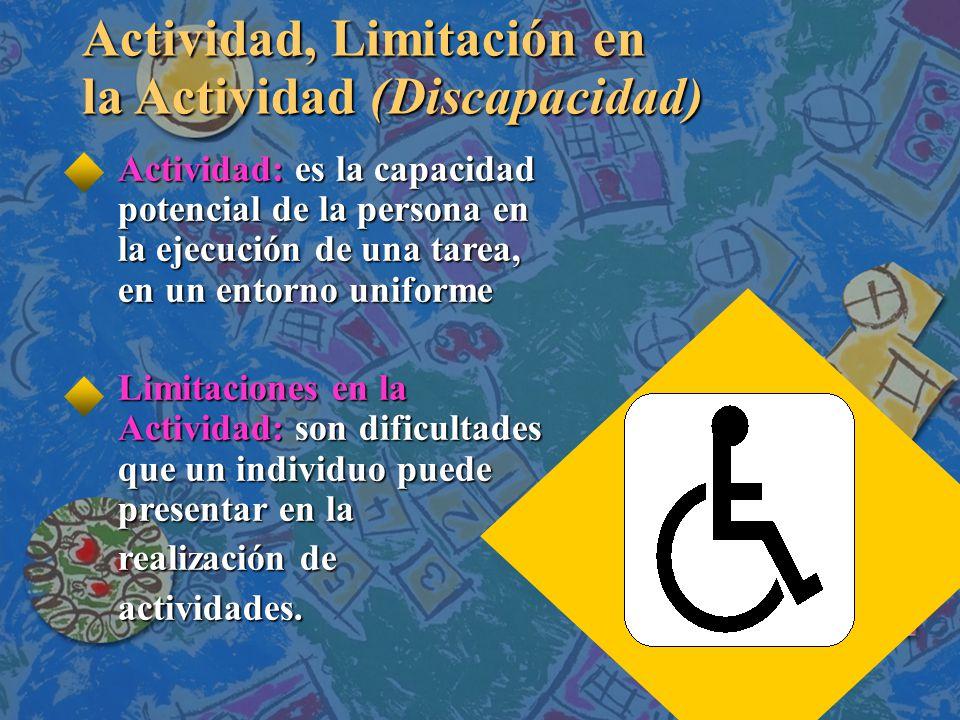 Actividad, Limitación en la Actividad (Discapacidad) Actividad: es la capacidad potencial de la persona en la ejecución de una tarea, en un entorno uniforme Limitaciones en la Actividad: son dificultades que un individuo puede presentar en la realización de actividades.