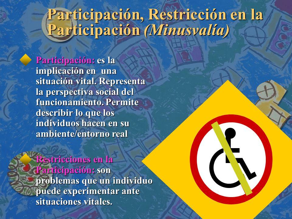 Participación, Restricción en la Participación (Minusvalía) Participación: es la implicación en una situación vital.