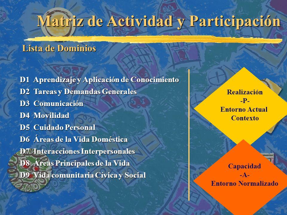 Matriz de Actividad y Participación D1 Aprendizaje y Aplicación de Conocimiento D2 Tareas y Demandas Generales D3 Comunicación D4 Movilidad D5 Cuidado Personal D6 Áreas de la Vida Doméstica D7 Interacciones Interpersonales D8 Áreas Principales de la Vida D9 Vida comunitaria Cívica y Social Lista de Dominios Realización -P- Entorno Actual Contexto Capacidad -A- Entorno Normalizado