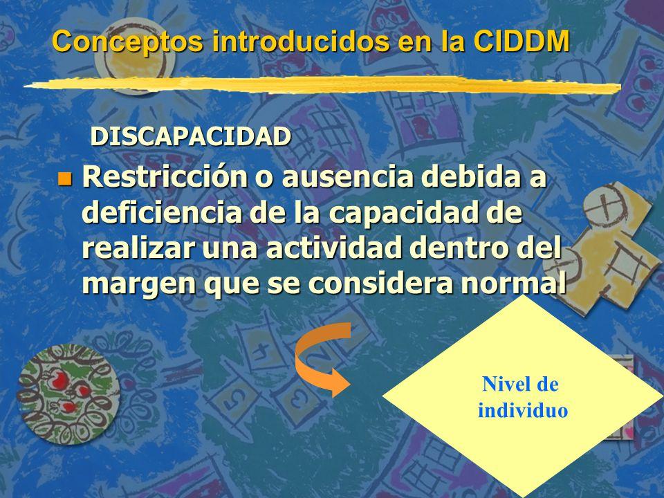 Conceptos introducidos en la CIDDM DISCAPACIDAD n Restricción o ausencia debida a deficiencia de la capacidad de realizar una actividad dentro del margen que se considera normal Nivel de individuo
