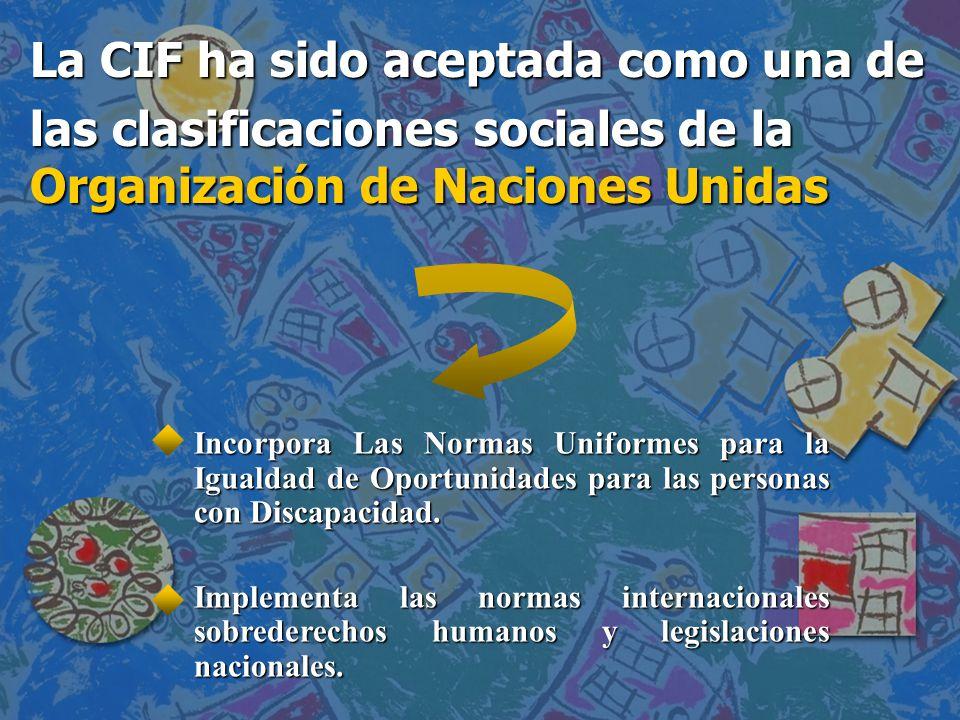 La CIF ha sido aceptada como una de las clasificaciones sociales de la Organización de Naciones Unidas Incorpora Las Normas Uniformes para la Igualdad de Oportunidades para las personas con Discapacidad.