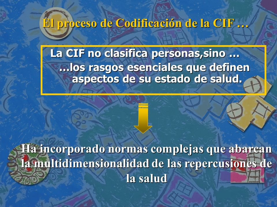 La CIF no clasifica personas,sino … …los rasgos esenciales que definen aspectos de su estado de salud.
