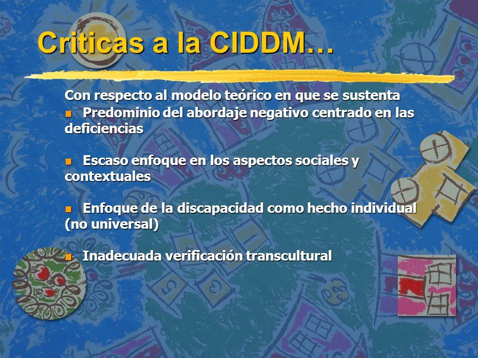 La OMS inicia el Proceso de Revisión de la CIDDM Por todo ello en 1993.......