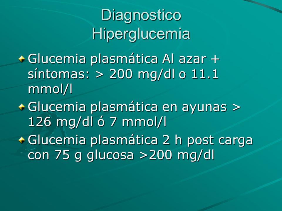 Diagnostico Hiperglucemia Glucemia plasmática Al azar + síntomas: > 200 mg/dl o 11.1 mmol/l Glucemia plasmática en ayunas > 126 mg/dl ó 7 mmol/l Gluce