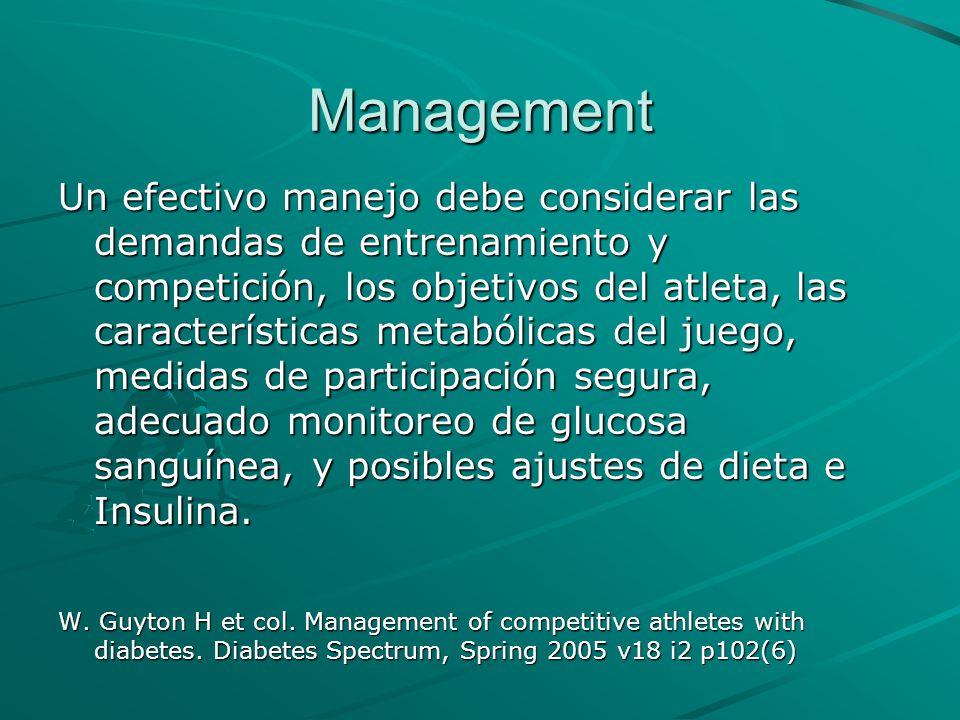 Management Un efectivo manejo debe considerar las demandas de entrenamiento y competición, los objetivos del atleta, las características metabólicas d
