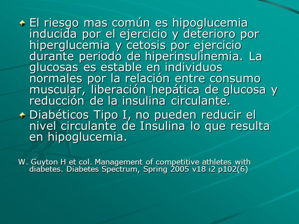 El riesgo mas común es hipoglucemia inducida por el ejercicio y deterioro por hiperglucemia y cetosis por ejercicio durante periodo de hiperinsulinemi