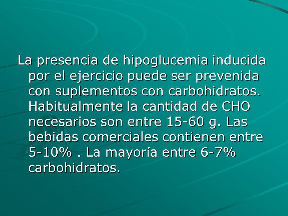 La presencia de hipoglucemia inducida por el ejercicio puede ser prevenida con suplementos con carbohidratos. Habitualmente la cantidad de CHO necesar