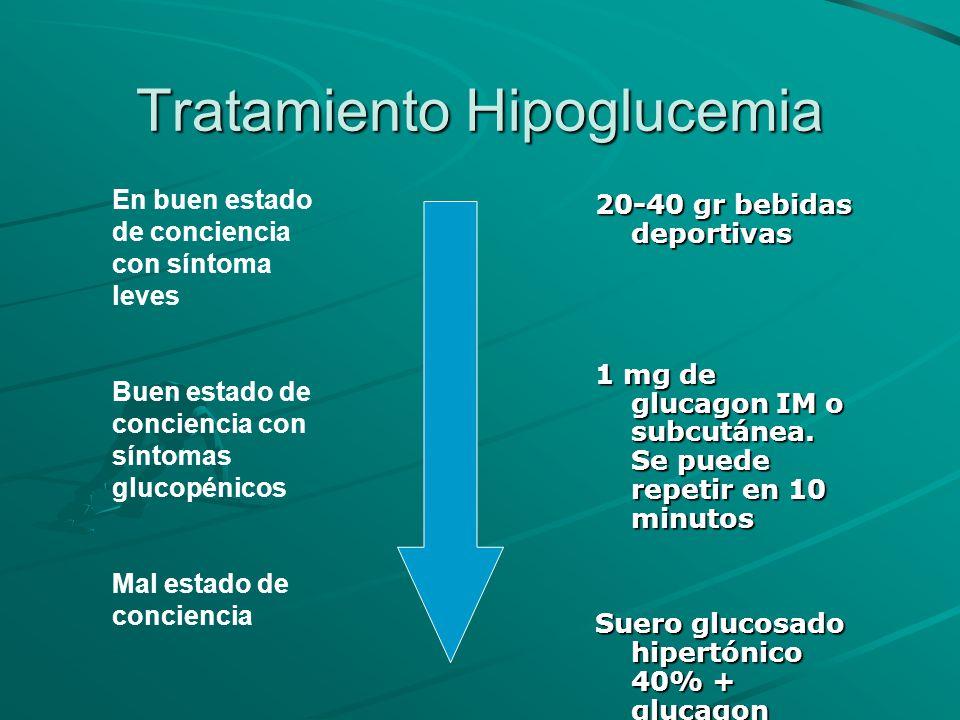 Tratamiento Hipoglucemia 20-40 gr bebidas deportivas 1 mg de glucagon IM o subcutánea. Se puede repetir en 10 minutos Suero glucosado hipertónico 40%