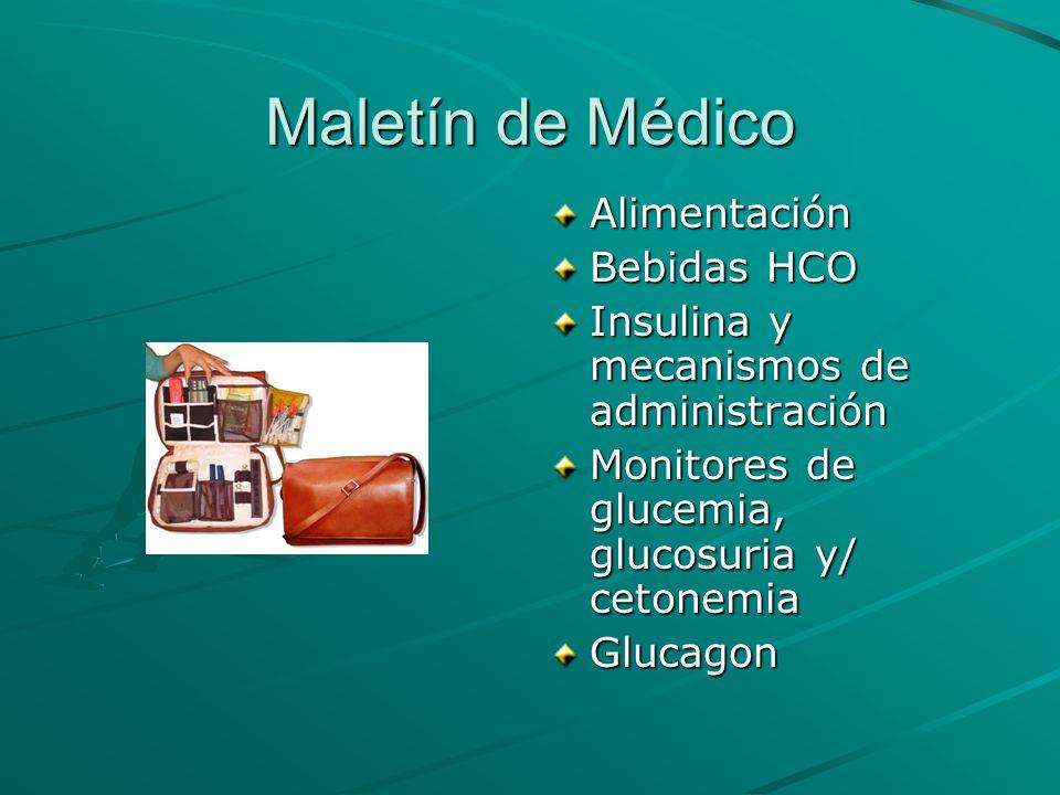 Maletín de Médico Alimentación Bebidas HCO Insulina y mecanismos de administración Monitores de glucemia, glucosuria y/ cetonemia Glucagon