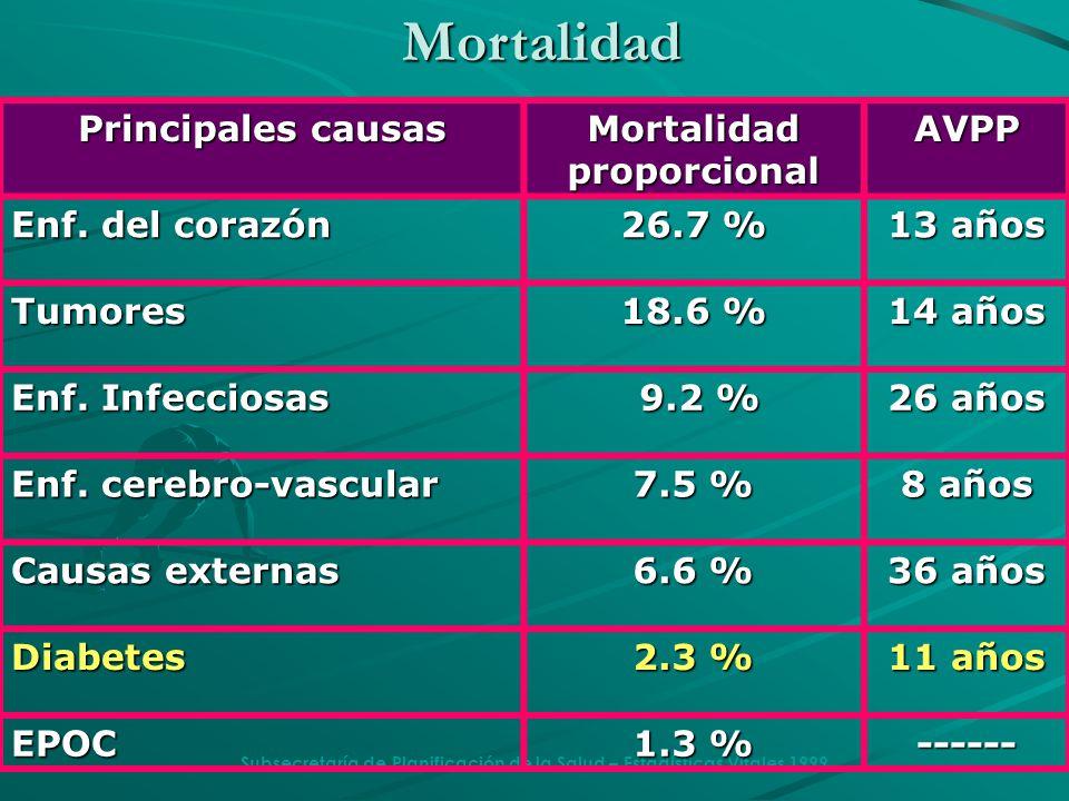 Mortalidad Subsecretaría de Planificación de la Salud – Estadísticas Vitales 1999 Principales causas Mortalidad proporcional AVPP Enf. del corazón 26.