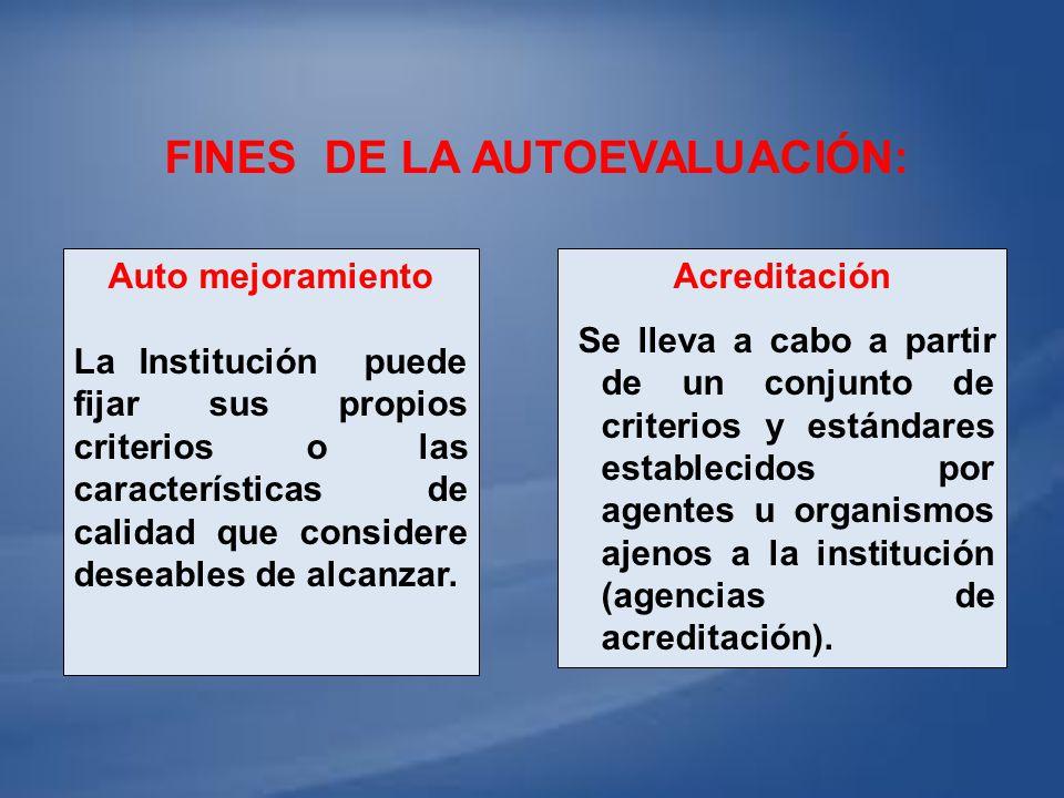 FINES DE LA AUTOEVALUACIÓN: Acreditación Se lleva a cabo a partir de un conjunto de criterios y estándares establecidos por agentes u organismos ajeno