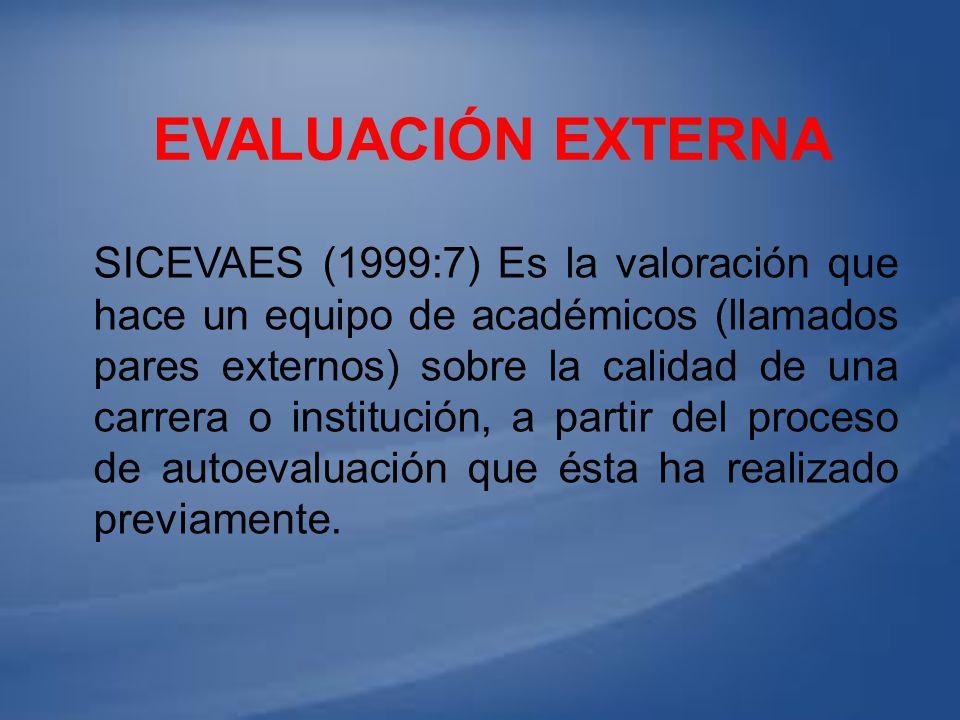 SICEVAES (1999:7) Es la valoración que hace un equipo de académicos (llamados pares externos) sobre la calidad de una carrera o institución, a partir