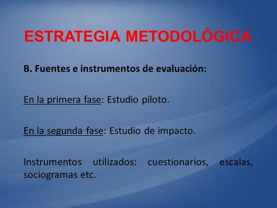 ESTRATEGIA METODOLÓGICA B. Fuentes e instrumentos de evaluación: En la primera fase: Estudio piloto. En la segunda fase: Estudio de impacto. Instrumen