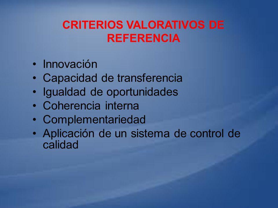 CRITERIOS VALORATIVOS DE REFERENCIA Innovación Capacidad de transferencia Igualdad de oportunidades Coherencia interna Complementariedad Aplicación de