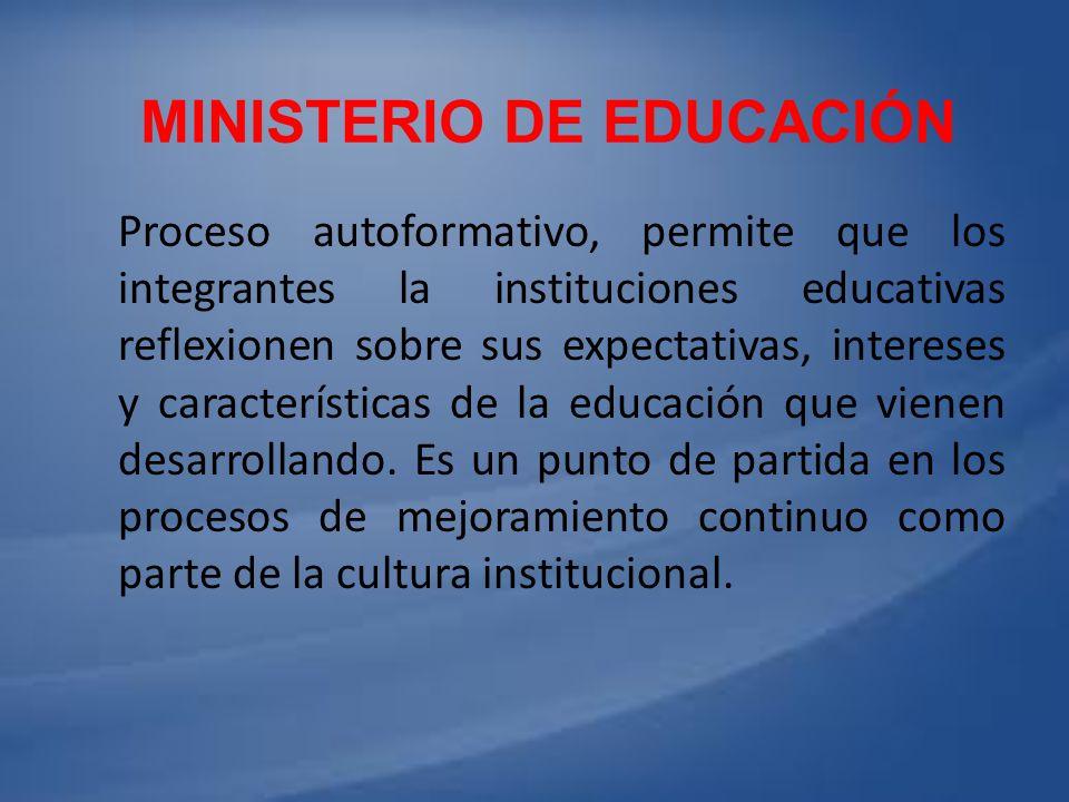 MINISTERIO DE EDUCACIÓN Proceso autoformativo, permite que los integrantes la instituciones educativas reflexionen sobre sus expectativas, intereses y