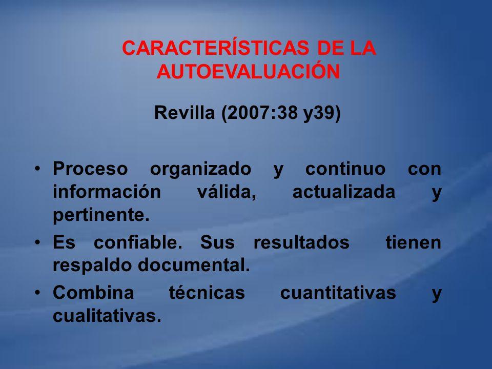 CARACTERÍSTICAS DE LA AUTOEVALUACIÓN Revilla (2007:38 y39) Proceso organizado y continuo con información válida, actualizada y pertinente. Es confiabl