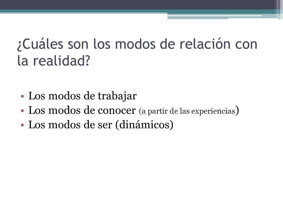 ¿Cuáles son los modos de relación con la realidad? Los modos de trabajar Los modos de conocer (a partir de las experiencias ) Los modos de ser (dinámi
