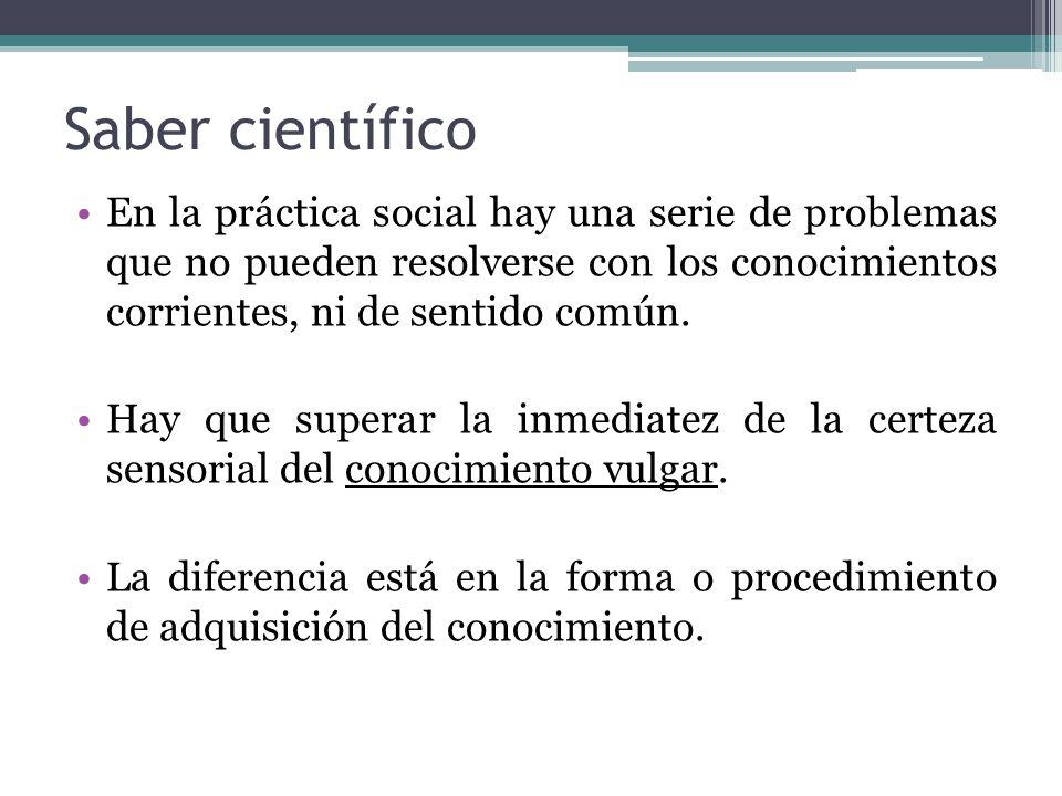 Saber científico Se obtiene mediante procedimientos metódicos con pretensión de validez, utilizando la reflexión sistemática y respondiendo a una búsqueda intencionada.