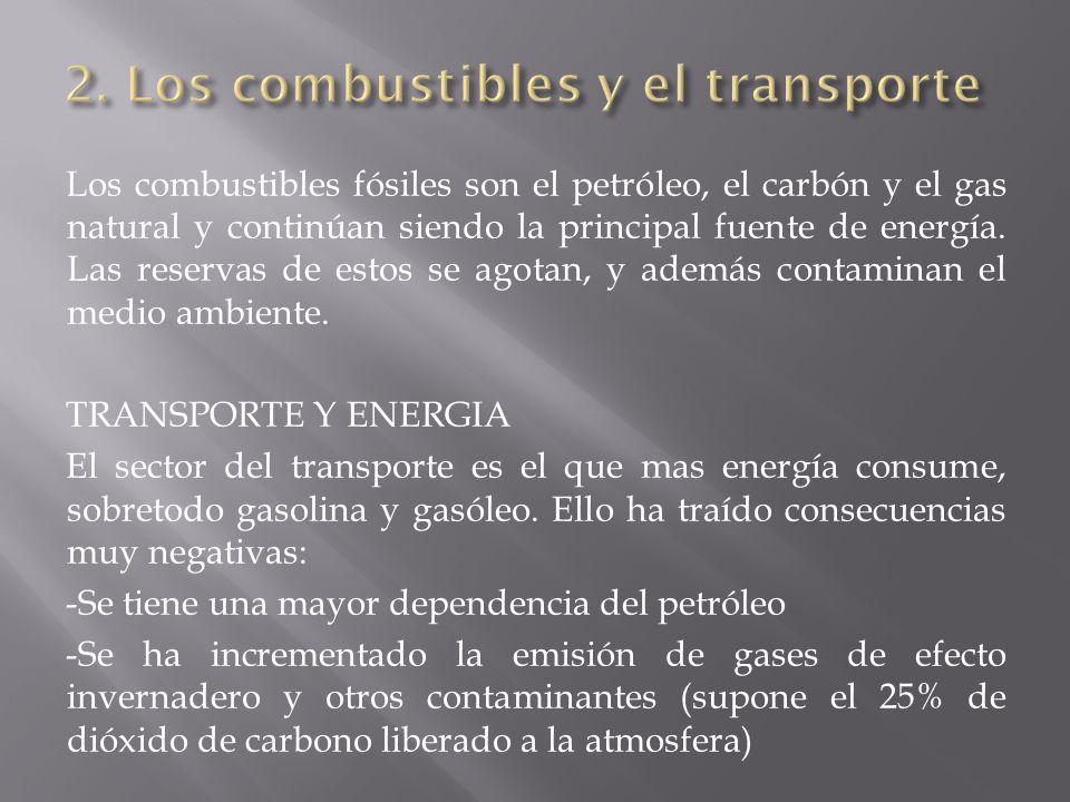 Los combustibles fósiles son el petróleo, el carbón y el gas natural y continúan siendo la principal fuente de energía. Las reservas de estos se agota