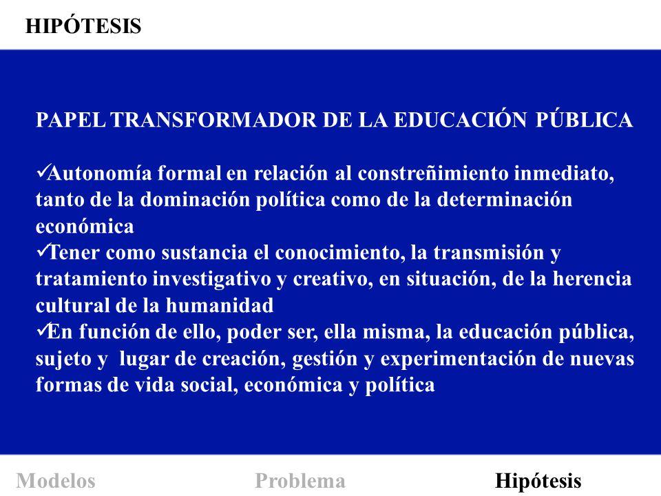 PAPEL TRANSFORMADOR DE LA EDUCACIÓN PÚBLICA Autonomía formal en relación al constreñimiento inmediato, tanto de la dominación política como de la dete