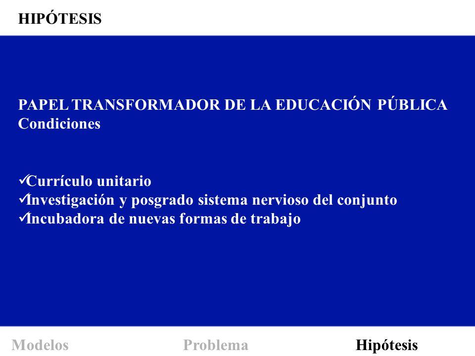 Modelos Problema Hipótesis PAPEL TRANSFORMADOR DE LA EDUCACIÓN PÚBLICA Condiciones Currículo unitario Investigación y posgrado sistema nervioso del co