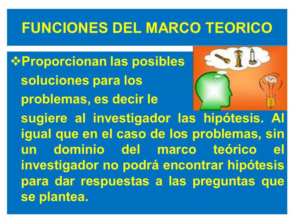 FUNCIONES DEL MARCO TEORICO Proporcionan las posibles soluciones para los problemas, es decir le sugiere al investigador las hipótesis.