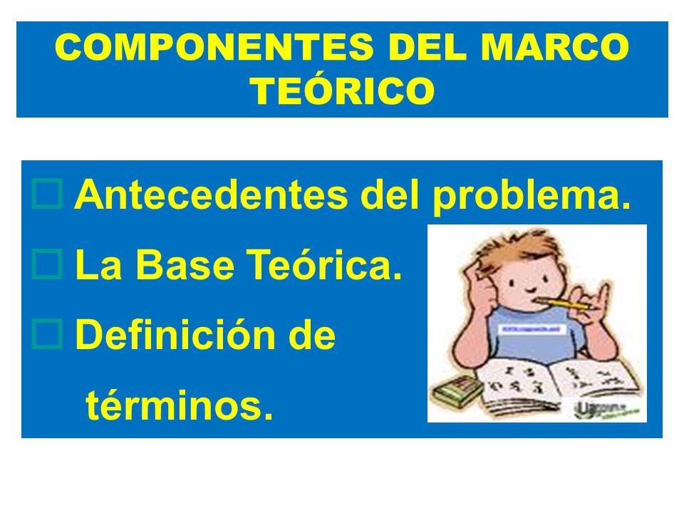 Antecedentes del problema. La Base Teórica. Definición de términos. COMPONENTES DEL MARCO TEÓRICO