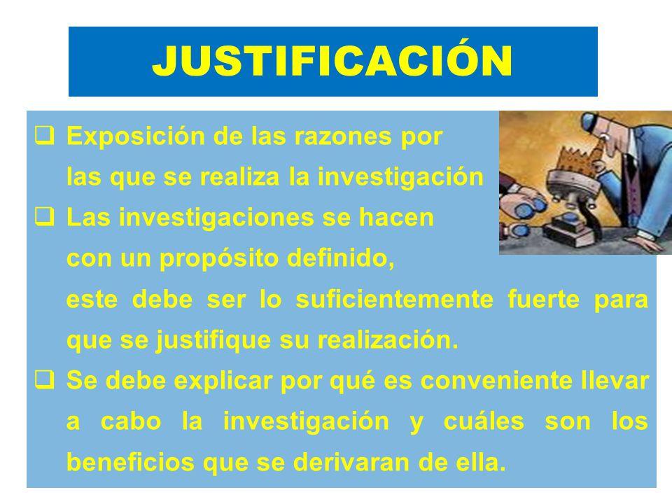 JUSTIFICACIÓN Exposición de las razones por las que se realiza la investigación Las investigaciones se hacen con un propósito definido, este debe ser